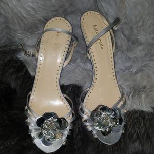Silver Kate Spade ankle wrap heels